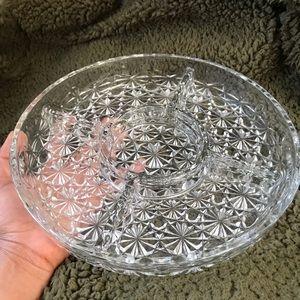 Vintage crystal dish ornate glass serving plate